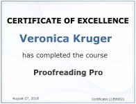 Veronica Kruger has completed the course Proofreading Pro